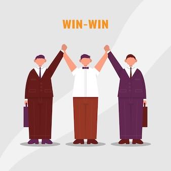 L'arbitre lève deux mains d'hommes d'affaires win to win situation commerciale en tant que gagnant et gagnant de la boxe