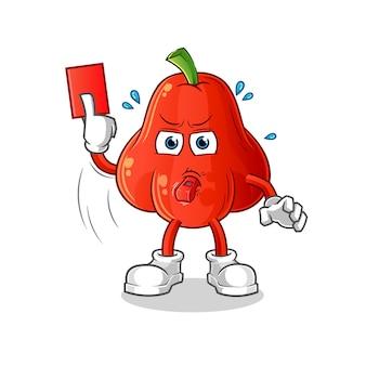 Arbitre de pomme d'eau avec carton rouge isolé sur blanc