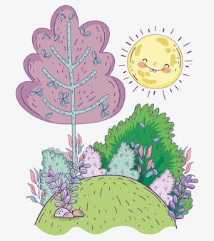 Arbre avec des arbustes et des plantes