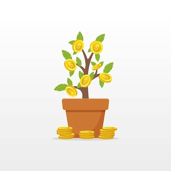 Arbre d'argent avec objet vectoriel pièce