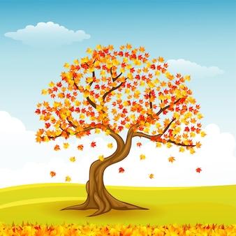 Arbre d'automne avec des feuilles qui tombent