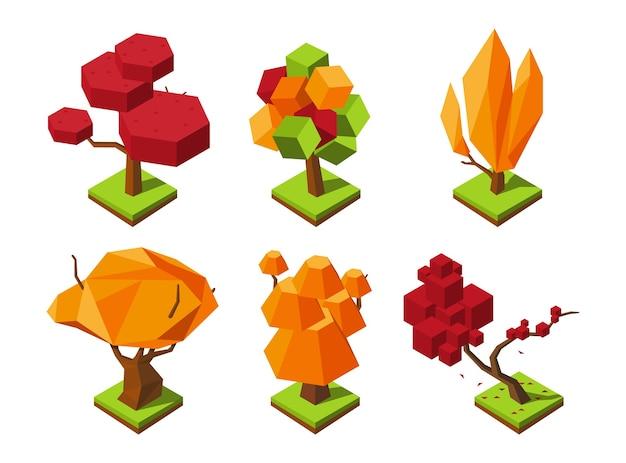 Arbre d'automne isométrique polygonal. arbres low poly. éléments de forêt d'automne 3d