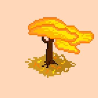 Arbre d'automne isométrique avec style pixel art