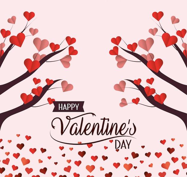Arbre aux fleurs de coeurs pour célébrer la saint-valentin