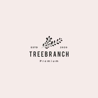 Arbre branche feuille logo hipster vintage rétro