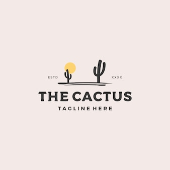 Arbre de cactus avec logo soleil