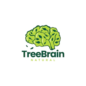 Arbre cerveau feuille idée intelligente pense modèle de logo