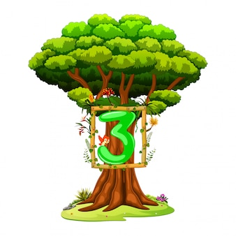 Un arbre avec un chiffre trois sur fond blanc