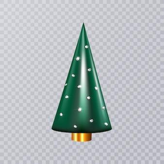 Arbre de cône 3d élégant avec strass isolé sur fond gris décoration de nouvel an ou de noël