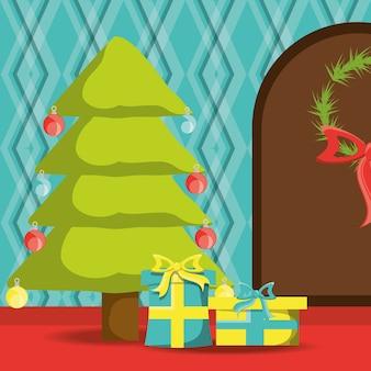 Arbre de Noël et porte de la maison