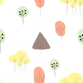 Arbre dessiné à la main doodle motif transparent coloré