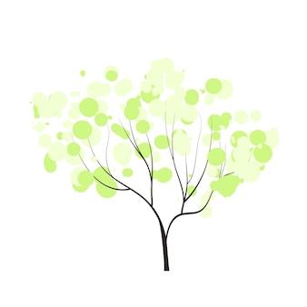 Arbre dessiné à la main avec une tendre bulle couronne printemps forêt griffonnages vecteur saison hiver printemps été