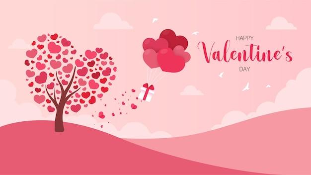 Arbre du cœur qui a publié des coffrets cadeaux avec des ballons flottant dans le ciel. carte de voeux saint valentin