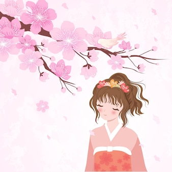 Arbre de fleurs de cerisier et fille du japon en kimono