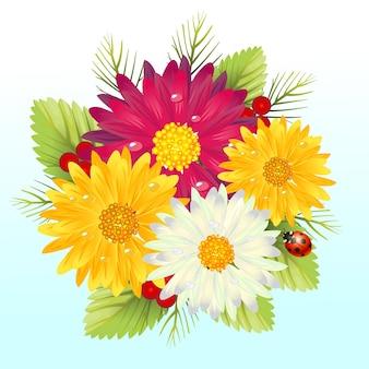 Arbre de fleurs de marguerite de gerbera fraîche