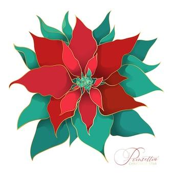 Arbre en fleurs de noël poinsettia. une branche de feuilles de soie verte et rouge avec une ligne dorée en filigrane dans une tendance asiatique. décorations élégantes et luxueuses pour les fêtes de noël
