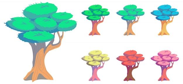 Arbre de forme unique avec style cartoon