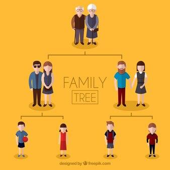 Arbre généalogique avec trois générations