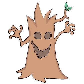 Arbre d'halloween avec un visage effrayant. image d'icône de griffonnage. dessin animé doodle autocollant dessiner