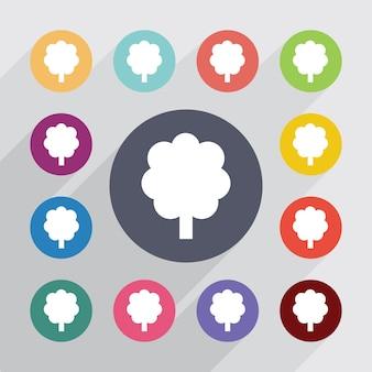 Arbre, jeu d'icônes plat. boutons colorés ronds. vecteur