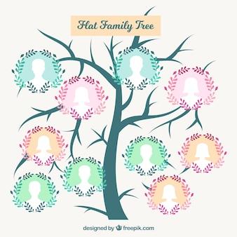 Arbre mignon de famille avec couronne de fleurs