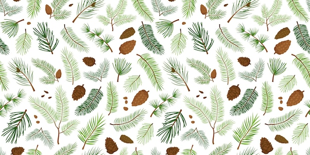 Arbre de modèle sans couture de sapin et de branche et fond de noël et de nouvel an à feuilles persistantes de cône