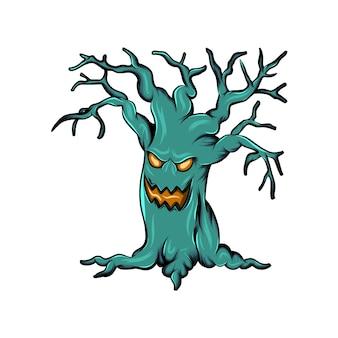 Arbre monstre avec le visage dans le tronc et sans les feuilles