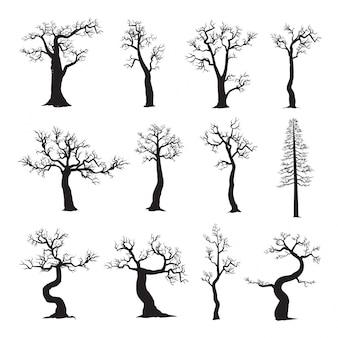 Arbre mort sans feuilles, collection de silhouettes d'arbres
