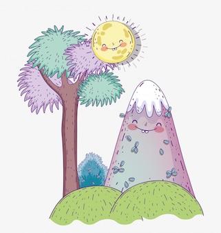 Arbre de la nature avec des montagnes enneigées dans les montagnes