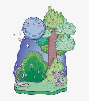 Arbre nature avec plantes arbustives et lune