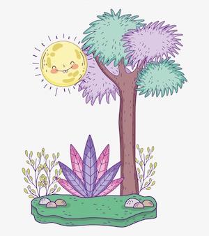 Arbre nature avec le soleil et les plantes avec les feuilles