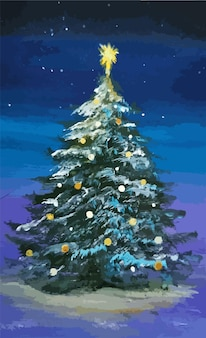 Arbre de noël en acrylique illustration vectorielle de carte de nuit d'hiver