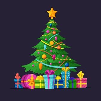 Arbre de noël avec des ampoules, des cadeaux et des boules de noël illustration vectorielle plane