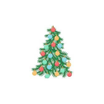 Arbre de noël avec des boules pour la conception de voeux arbre de symbole traditionnel festif du nouvel an