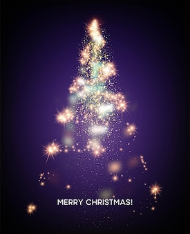 Arbre De Noël Brillant. Fond D'étoile Clair. Illustration Vectorielle Eps10 Vecteur gratuit