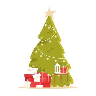 Arbre de noël et coffrets cadeaux décoration lampe et guirlande illustration de noël et nouvel an