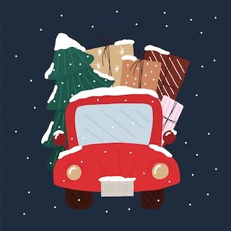 Arbre de noël dans une voiture avec boîte-cadeau. carte de noël de neige.