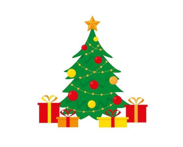 Arbre de noël décoré et boîtes de cadeaux bonne année et noël