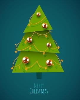 Arbre de noël décoré avec des boules et des lampes de décoration de guirlande joyeux noël et bonne année