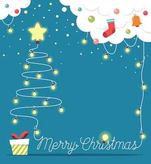 Arbre de noël décorer avec ampoule, boîte-cadeau, cloche et chaussette. illustration vectorielle