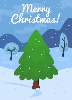 Arbre de noël de dessin animé ou modèle de carte de pin concept de célébration du nouvel an avec le pin vert et la neige