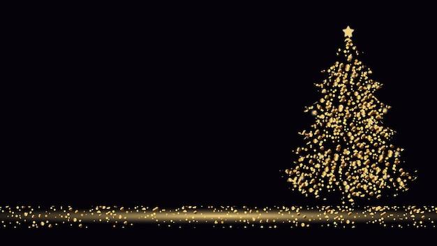 Arbre de noël doré arbre de noël avec des lumières fond de noël doré