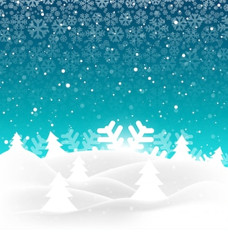 Arbre de noël joyeux élégant avec fond de flocon de neige