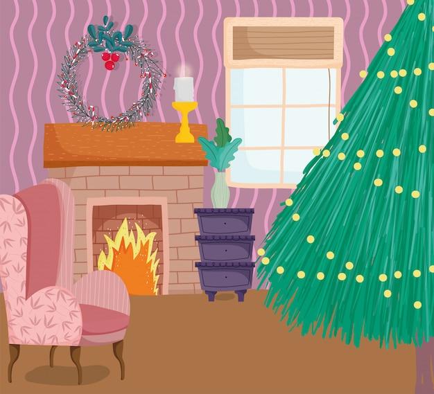Arbre de noël lumières de la maison cheminée couronne canapé bougie