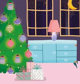 Arbre de noël maison avec boules lumières cadeaux meubles lampe fenêtre