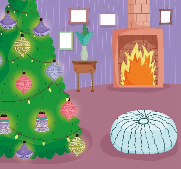 Arbre de noël maison boules lumières cheminée coussin
