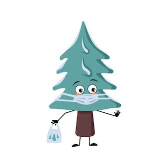 Arbre de noël mignon avec des émotions tristes, le visage et le masque gardent la distance, les mains avec le sac à provisions et le geste d'arrêt. pin avec des yeux. décoration festive du nouvel an, sapin joyeux