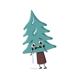 Arbre de noël mignon avec des pleurs et des larmes émotion visage triste yeux dépressifs bras et jambes pin avec e...