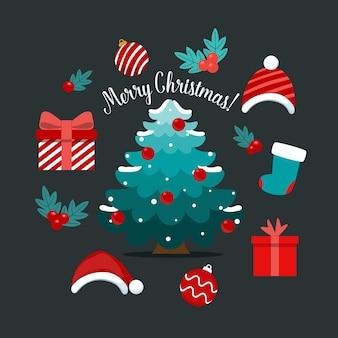 Arbre de noël et objet festif décoratif joyeux noël et bonne année illustration vectorielle