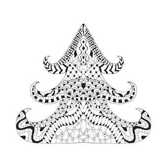 Arbre de noël ornemental dessiné à la main dans un style doodle.
